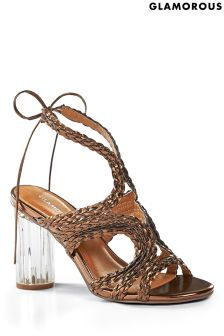 Glamorous Metallic Lace Up Sandals