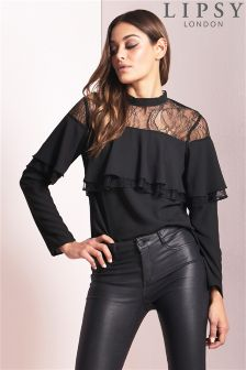 Lipsy High Neck Ruffle Lace Blouse