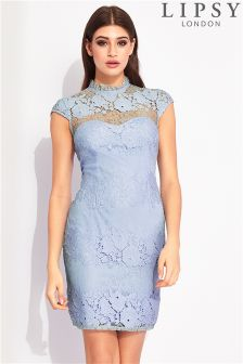 Lipsy All Over Lace High Neck Dress