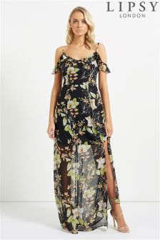 Lipsy Floral Cold Shoulder Ruffle Maxi Dress