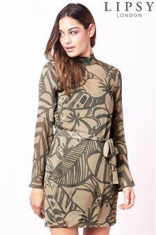 Lipsy Printed High Neck Dress