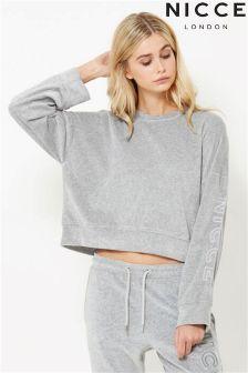 NICCE Velour Keyline Crop Sweatshirt