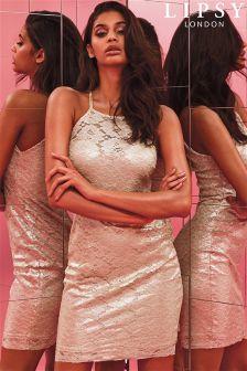 Lipsy Metallic Lace Strappy Mini Dress