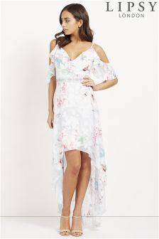 Lipsy Floral Print Burnout Maxi Dress