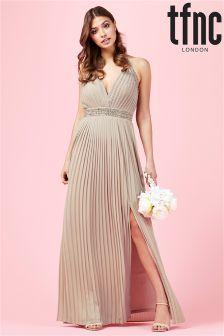 Sukienka maxi zdobiona z odkrytymi plecami tfnc