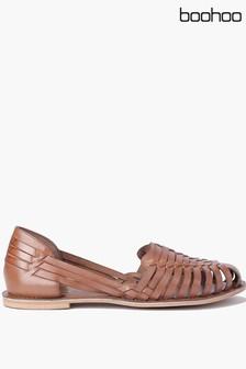 حذاء باليرينا جلد محبوك من Boohoo