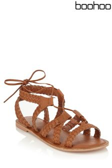 Boohoo Plaited Leather Lace Up Sandals