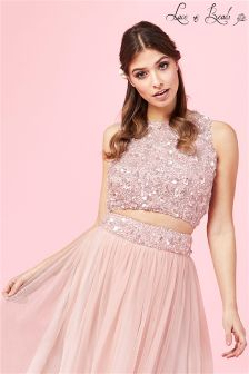 Lace & Beads Sequin Prom Crop Top