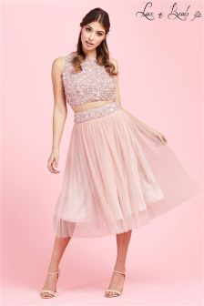 Lace & Beads Sequin Prom Skater Skirt