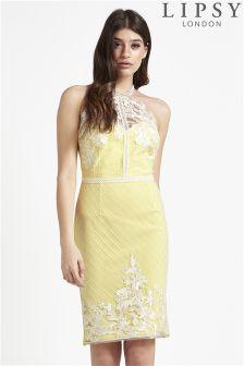 Lipsy Artwork Lace High Neck Bodycon Dress