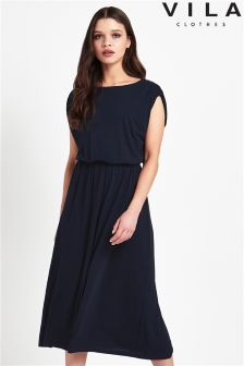 Vila Elasticated Waist Midi Dress