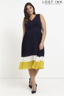 Lost Ink Curve Pleated Skirt Dress