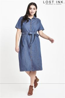 Lost Ink Curve Shirt Dress In Denim