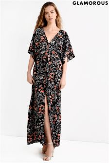 Glamorous Petite Printed Split Front Maxi Dress