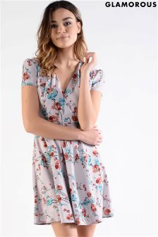 Glamorous Petite Printed Belted Tea Dress