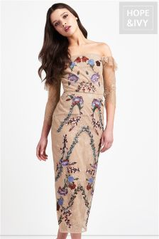 Hope & Ivy Bardot Embroidery Dress