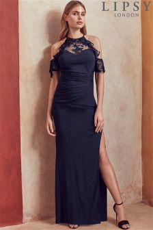 Lipsy Petite Lace Cold Shoulder Maxi Dress