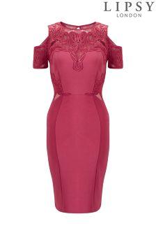 Lipsy Petite Lace Appliqué Cold Shoulder Bodycon Dress