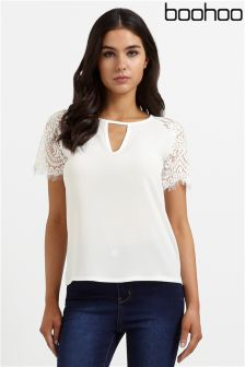 Boohoo Lace Cap Sleeves Top