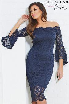 Jessica Wright Lace Bell Sleeve Bardot Bodycon Dress