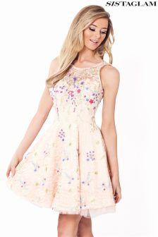 Sistaglam Satin And Net Skater Skirt Prom Dress