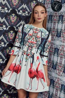 Comino Couture Bell Sleeve Print Shift Dress