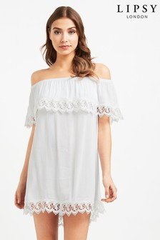 Lipsy Appliqué Ruffle Bardot Dress