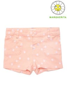 Margherita Kids Daisy Embroidered Shorts