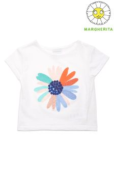 Margherita Kids Daisy Embroidered Tee