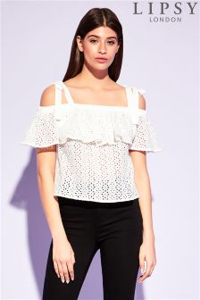 Lipsy Tie Shoulder Broderie Top