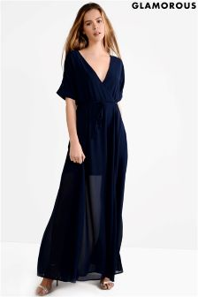 Glamorous Curve Wrap Over Midi Dress