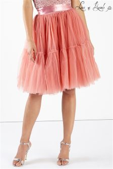 Lace & Beads Tulle Pleated Skater Skirt