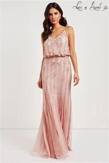 Lace & Beads Embellished V neck Maxi Dress