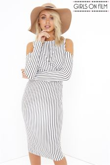 Girls On Film Stripe Midi Bodycon Dress