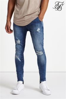 SikSilk Repaired Low Rise Stretch Denim Jeans