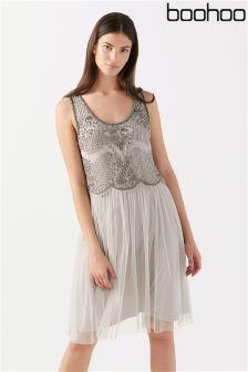 Boohoo Beaded Double Layer Midi Dress