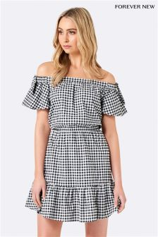Forever New Gingham Off Shoulder Dress
