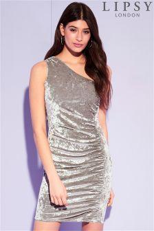 Lipsy 1 Shoulder Velvet Ruched Bodycon Dress