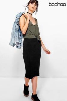 Boohoo Basic Jersey Midi Skirt