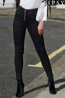Lipsy Super Stretch Ring Pull Zip Front High Rise Skinny Jeans