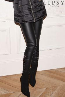 Lipsy Super Stretch Coated Ankle Lace Up Mid Rise Skinny Jeans