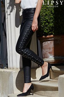 Lipsy Super Stretch Coated Lace Up Side Mid Rise Skinny Jean