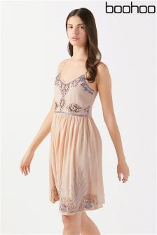 Boohoo Embellished Gather Waist Cami Dress
