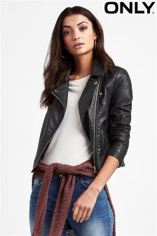 Only Embroidered Faux Leather Biker Jacket