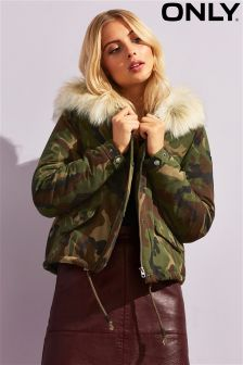 Only Camouflage Faux Fur Trimmed Hooded Parka