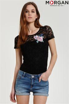 Morgan Lace Appliqué T-Shirt