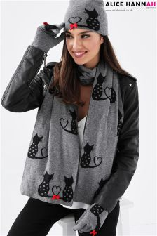 Alice Hannah Knitted Jaquard Scarf With Cat Details