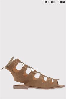 PrettyLittleThing Faux Suede Gladiator Sandals