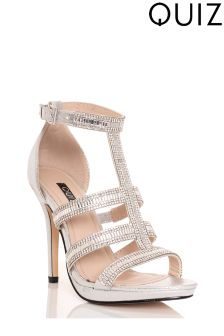 Quiz Jeweled T-bar Platform Heeled Sandal