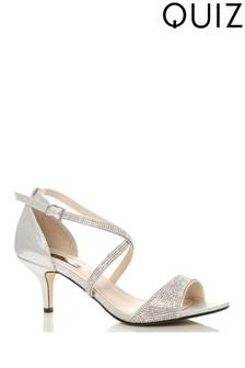 Quiz Suedette Diamanté Cross Strap Low Heel Sandals